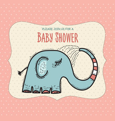 Baby shower card template with funny doodle vector