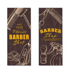 Barber shop vertical banner set in brown vector