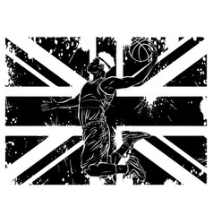 black silhouette basketball and country flags vector image