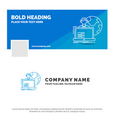 blue business logo template for outsource vector image