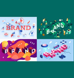 brand banner set isometric style vector image
