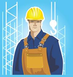 Builder construction worker in protective wear vector