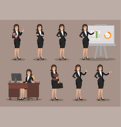 Business woman in various poses flat design vector