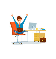 Business worker at workplace businessman at office vector