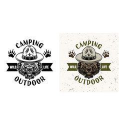 camping emblem with scout bear two styles vector image