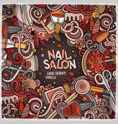 Cartoon doodles nail salon frame design vector