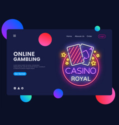 casino neon creative website template design vector image