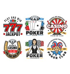 casino poker game jackpot gambling icons vector image