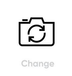 change icon editable line vector image