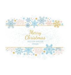 christmas snow flake frame white background vector image