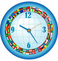 clock with flags vector image