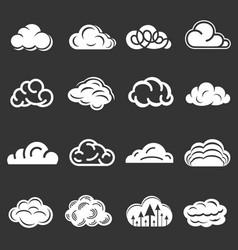 cloud icons set grey vector image