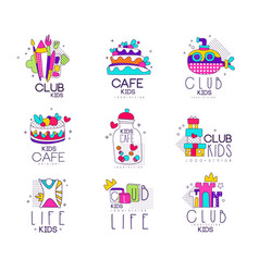 Collection colorful kids logo templates set vector
