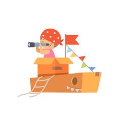 creative kid character playing ship made of vector image