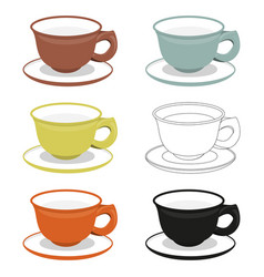 Cups and saucers of different cly types vector
