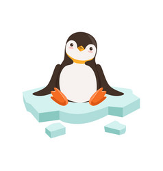 Cute funny penguin character is sitting on vector