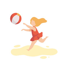 Cute girl in swimsuit playing with ball kid vector