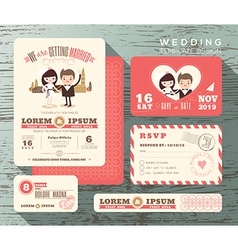 Cute groom and bride couple wedding invitation set vector