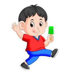 cute little boy enjoy eating ice lolly vector image