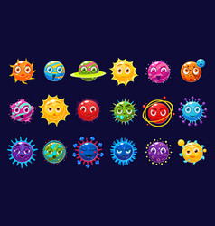 Cute orbs and planets sett with different emotions vector