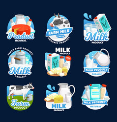 Dairy food icons milk cream cheese and butter vector