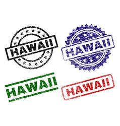 Damaged textured hawaii stamp seals vector
