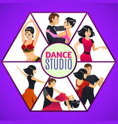 dance studio template in cartoon style vector image