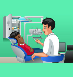 dentist checking on a kid patient vector image