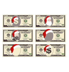 design template 50 dollars banknote with santa vector image