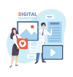 digital marketing creative team working on vector image