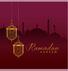 Elegant ramadan kareem festival greeting with vector