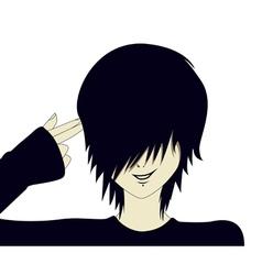Emo kid with finger gun vector