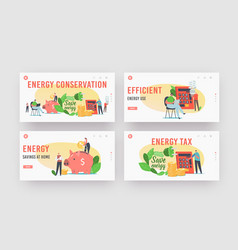 Energy conservation landing page template set vector