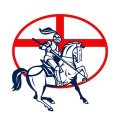 English Knight Riding Horse England Flag Circle vector image