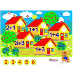 Exercises for children need to solve examples cut vector
