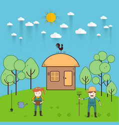 farmer man and woman farming and landscape vector image