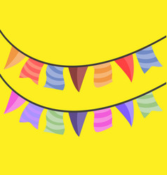 Festive hanging party flags vector