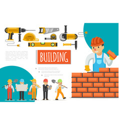 flat construction industry composition vector image