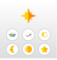 Flat icon bedtime set of bedtime lunar moon and vector