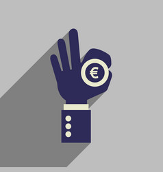 Flat web icon with long shadow hand coin vector
