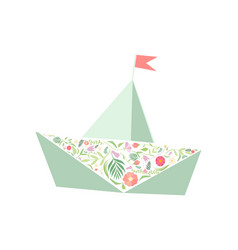 folded paper boat decorated with floral seamless vector image