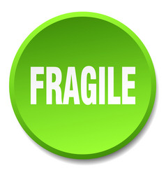 Fragile green round flat isolated push button vector