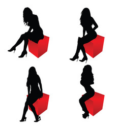 girl silhouette sitting on cube red set vector image