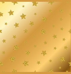 Golden glitter stars seamless pattern vector