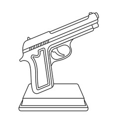 Golden gun on a standaward for best crime film vector