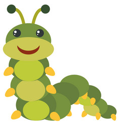 Green caterpillar with happy face vector
