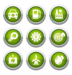 Green ecology buttons vector