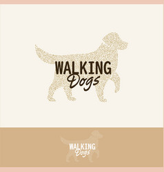 halftone dog silhouette walking dogs logo vector image