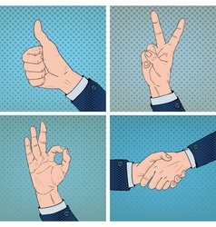 Hand Gestures Set in Comic Pop Art Style vector image