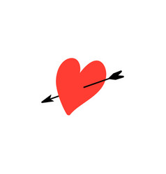 heart with arrow symbol love and valentines vector image